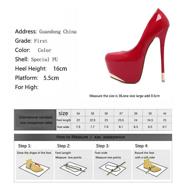 Women's Patent Leather Super high Heels Pumps