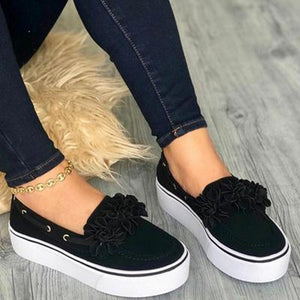 Women Flats Slip On Leather Suede Ladies Loafers Casual Floral Shoes