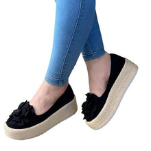 Load image into Gallery viewer, Women Flats Shoes Slip On Casual Ladies Canvas Shoes Bow Thick Bottom Lazy Loafers