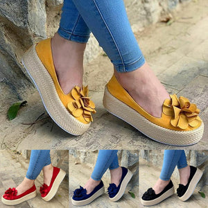 Women Flats Shoes Slip On Casual Ladies Canvas Shoes Bow Thick Bottom Lazy Loafers