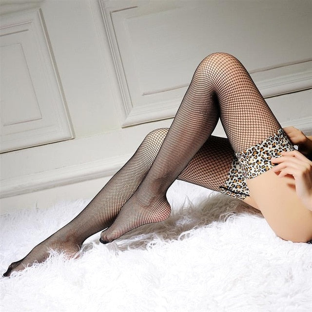 Thigh High Leopard Printed Mesh Transparent Fishnet Stockings - Thj Fashion Boutique