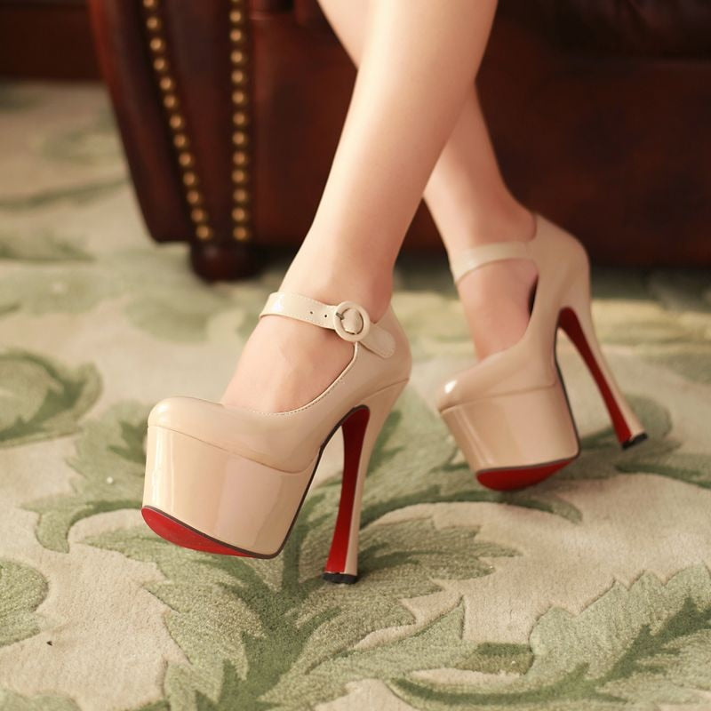 High Heels Woman Shoes Sexy Thick Platform Mary Jane's  Red bottom  Pumps