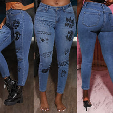 Load image into Gallery viewer, Letters-Print Graffiti Jeans High Waist Elastic Skinny Jeans Slim Fit