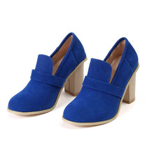 Load image into Gallery viewer, Women High Heels Retro Casual Shoes Patchwork Flock Wood Heel Pumps - Thj Fashion Boutique