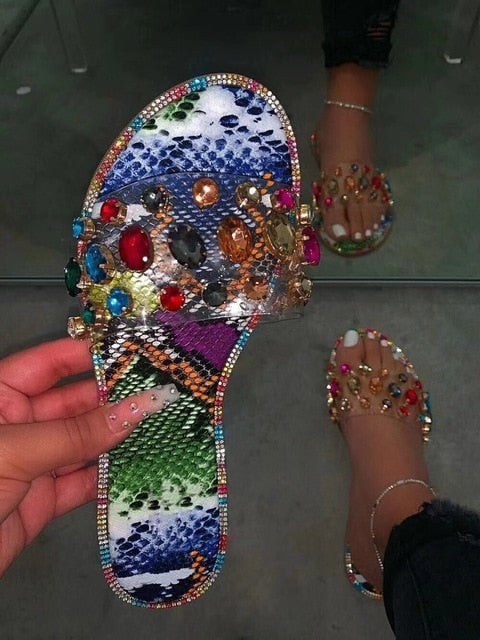 gemstone rhinestones flash sandals comfortable wild diamond slippers