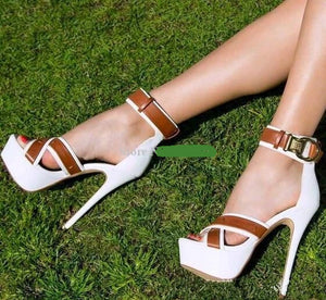 Women Sandals Buckle Ankle Strap Cross-tied Platform Stiletto Heel Peep Toe
