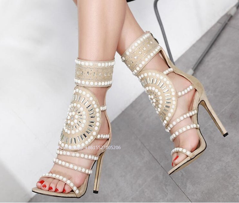 Elegant Pearl Ladies Thin Heel Mixed Colors Crystal Straps  Back Zipper Sandal - Thj Fashion Boutique