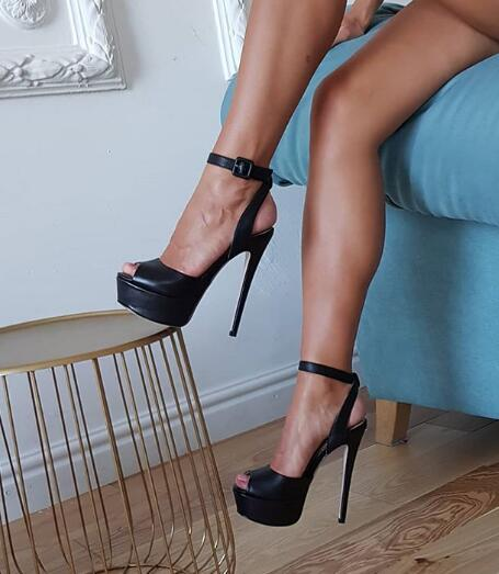 Black Leather High Heel Peep Toe Sexy Ankle Strap Platforms Heels