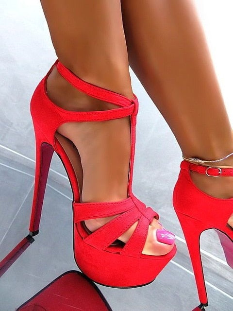 Newest Peep Toe Platform  T-strap Ankle Strap Shoes - Thj Fashion Boutique