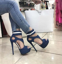 Load image into Gallery viewer, Blue  Peep Toe Platform Sandals Super High Denim blue Cutouts Gladiator Shoes - Thj Fashion Boutique