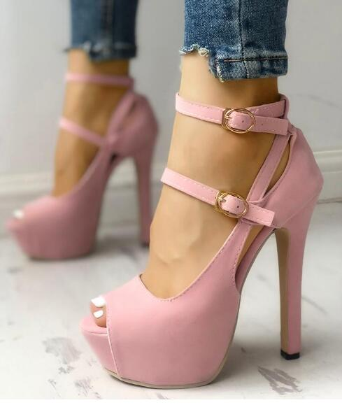 Peep Toe Buckle Platform Thin Heeled  Sexy Platform High Heel Shoes