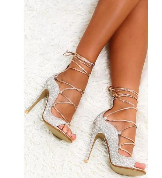Sliver Rhinestones Stiletto Heel Lace Up  Peep Toe Thin Heels - Thj Fashion Boutique