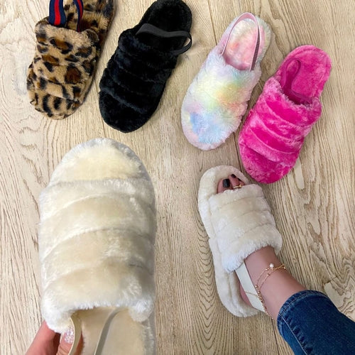 Comfortable Cotton Flat Slippers Platform Sandals Plush Open Toe