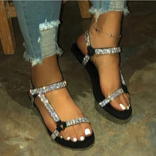 Load image into Gallery viewer, Flat Rhinestone Women Sandals