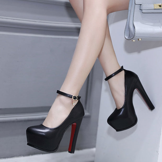 Mary Jane Ankle Strap Pumps Platform Ladies Shoes Thick Heeled