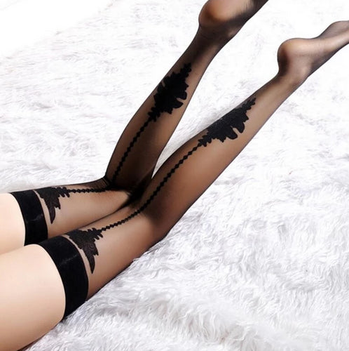 Back seam Fishnet Mesh Thigh High Sheer Straps Lace Sexy Stockings - Thj Fashion Boutique
