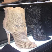 Women Elegant Open Toe Black White Mesh Short Boots Embroidery Lace Thin Heel Ankle Booties - Thj Fashion Boutique