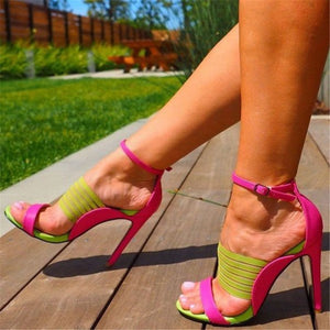 Green Pink Patchwork Strappy Buckle Stiletto High Heels