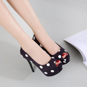New Platform High Heel Polka Dot Fish Mouth High Heels - Thj Fashion Boutique