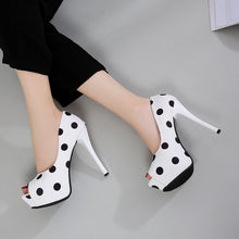 Load image into Gallery viewer, New Platform High Heel Polka Dot Fish Mouth High Heels - Thj Fashion Boutique