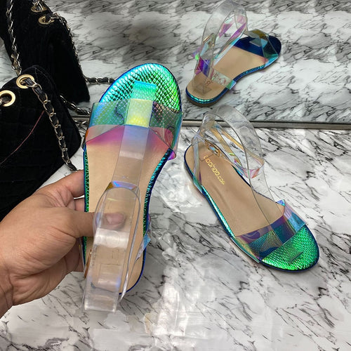 New Summer 2020 Leather Flat  Women's slippers  sexy wild colorful