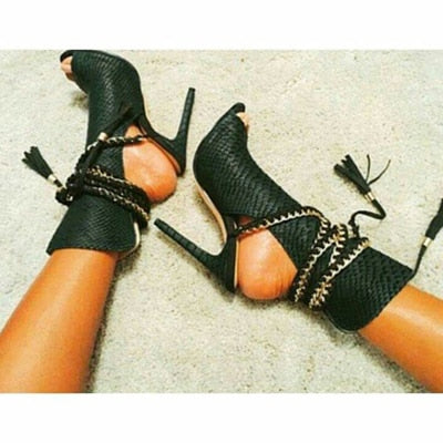 New Summer Tassel Chains Decorated Ankle Strap Women  Thin High Heels Stilettos - Thj Fashion Boutique