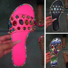 Load image into Gallery viewer, Women Crystal Slippers Camouflage Flat Soft  Candy Color Flip Flops