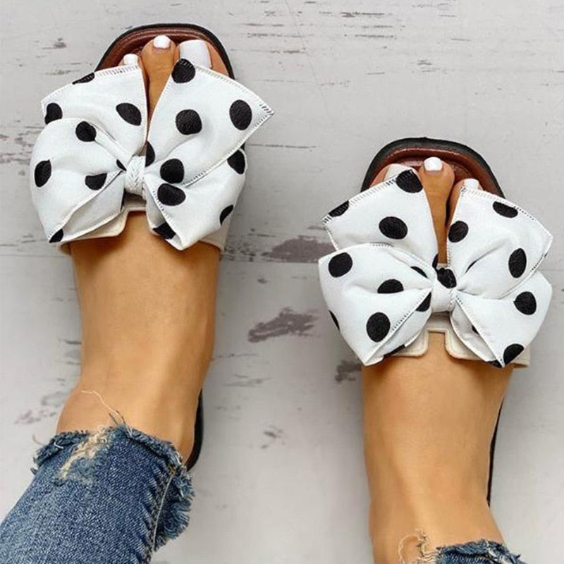Comfortable Flats Slippers Polka Dot Bow knot Design Open Toe