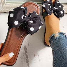 Load image into Gallery viewer, Comfortable Flats Slippers Polka Dot Bow knot Design Open Toe Sandals