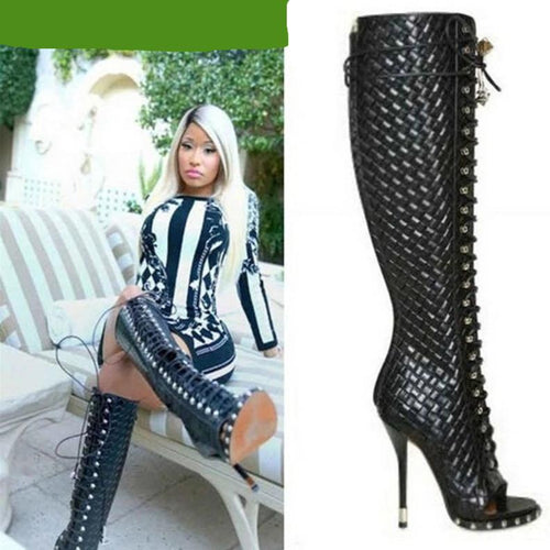 Genuine Leather High Quality  black wave open toe lace up high heel  boots