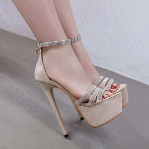 Rhinestone thin belt combination  buckle Platform Heels