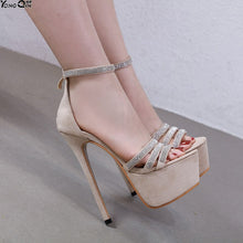 Load image into Gallery viewer, Rhinestone thin belt combination  buckle Platform Heels