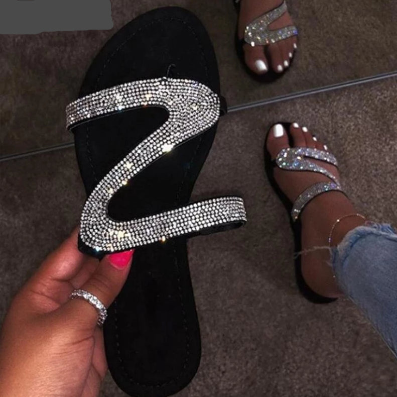 Open Toe Crystal Flat Comfort slip on Slippers - Thj Fashion Boutique