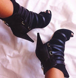 Women Open Toe Black Suede Leather Lace-up Ankle Boots