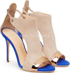 Western Style Flock Heel Strap Colorblock Metal Thin High Heel - Thj Fashion Boutique