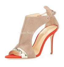 Load image into Gallery viewer, Western Style Flock Heel Strap Colorblock Metal Thin High Heel - Thj Fashion Boutique