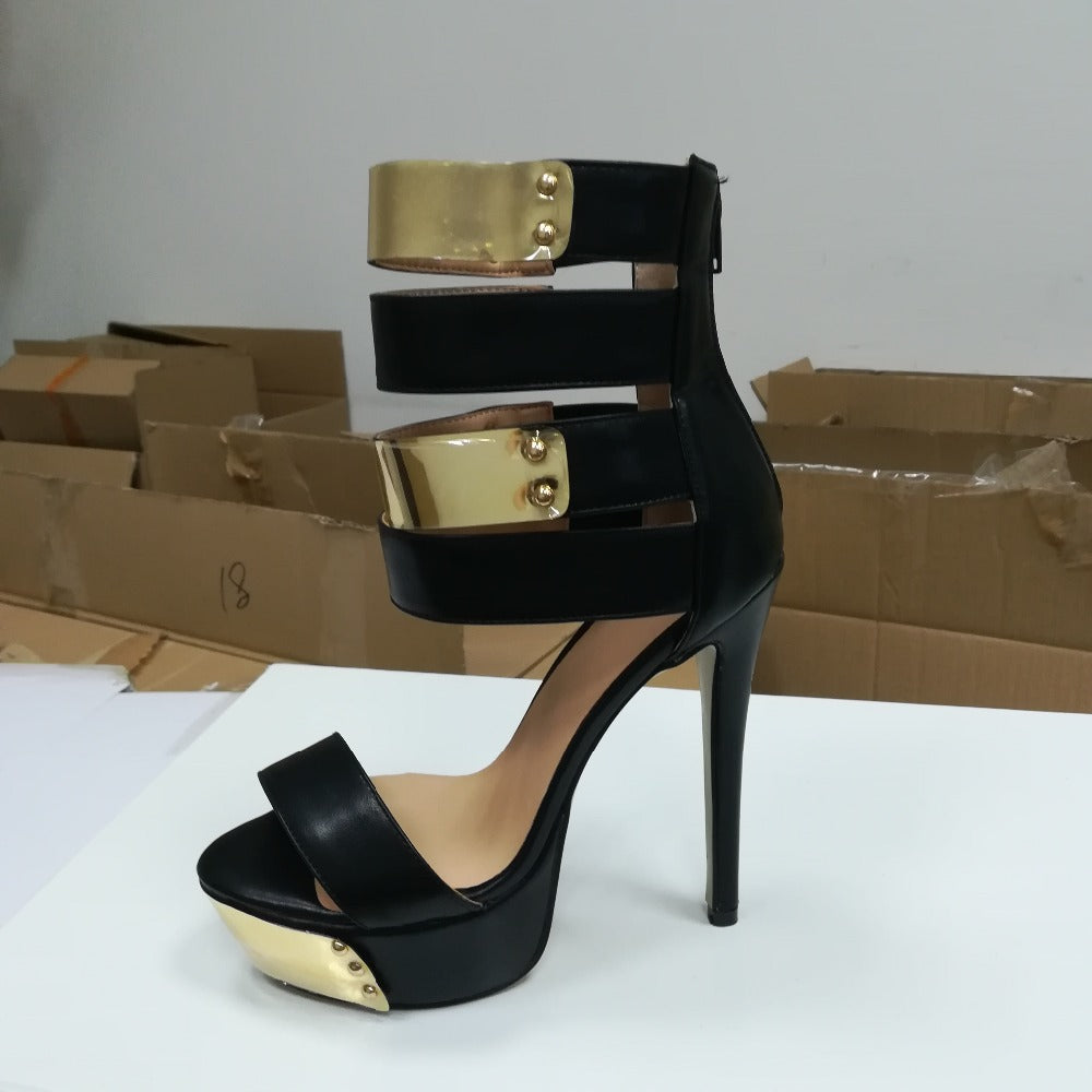 Platform High Quality Thin High Heel Sandals Nice Open Toe Black - Thj Fashion Boutique