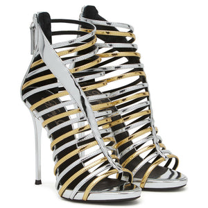 Open Toe Sliver and Gold Patent Leather Strappy  Slim Platform Ladies High Heeled Dress Shoes