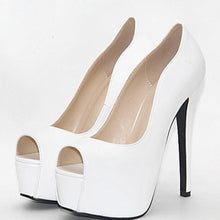 Load image into Gallery viewer, Elegant White Platform Peep Toe Thin High Heels Pumps