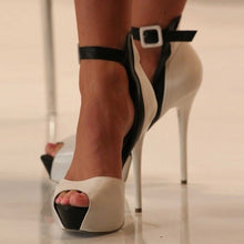 Load image into Gallery viewer, Mixed Color White Black Peep Toe Thin High Heel Platform