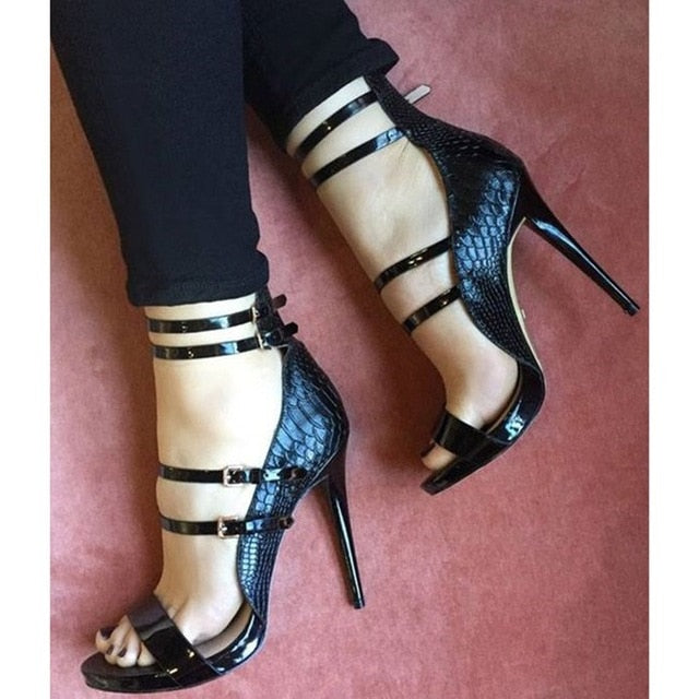 Women Black Open Toe Thin Heels Sandals Buckle Strap