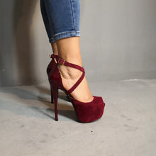 Load image into Gallery viewer, Sexy Women Platform Open Toe Thin High Heels Pumps Wine Red Plus Size 4-15
