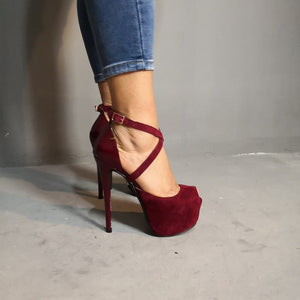 Sexy Women Platform Open Toe Thin High Heels Pumps Wine Red Plus Size 4-15