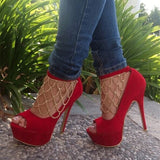 Red Women Pumps  Sexy Peep Toe Thin High Heels Shoes
