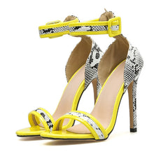 Load image into Gallery viewer, Open Toe Sexy Snake Print High Heeled Sandals - Thj Fashion Boutique