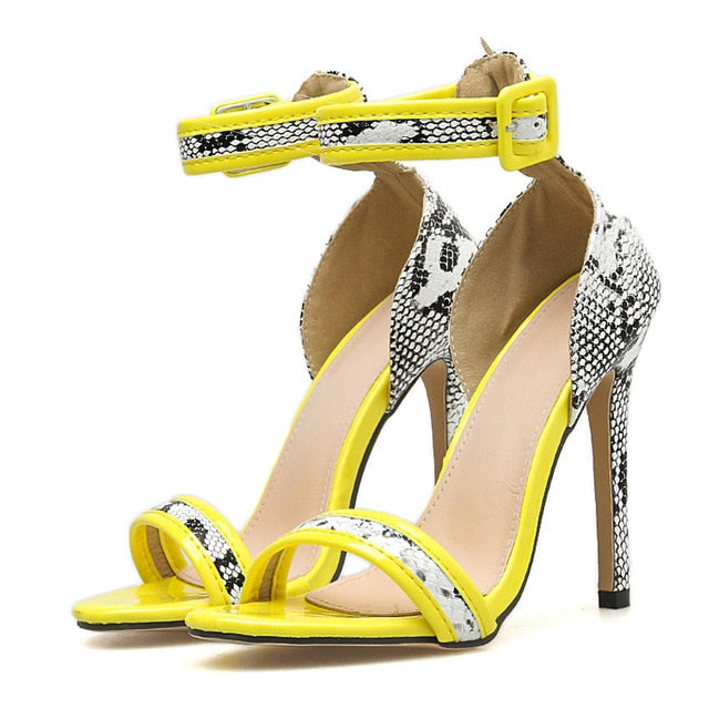 Open Toe Sexy Snake Print High Heeled Sandals - Thj Fashion Boutique
