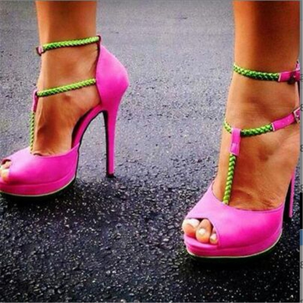 Pink suede, double buckle belt, colored T-band Heels