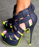 Gladiator High Heel Sandals Platform Peep Toe Cut Out Buckle Strap - Thj Fashion Boutique