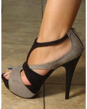 Load image into Gallery viewer, Punk Rock Gothic Gladiator High Heel  Platform Black Grey Peep Toe Cut Out Buckle Strap heels