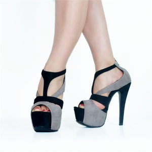 Punk Rock Gothic Gladiator High Heel  Platform Black Grey Peep Toe Cut Out Buckle Strap heels